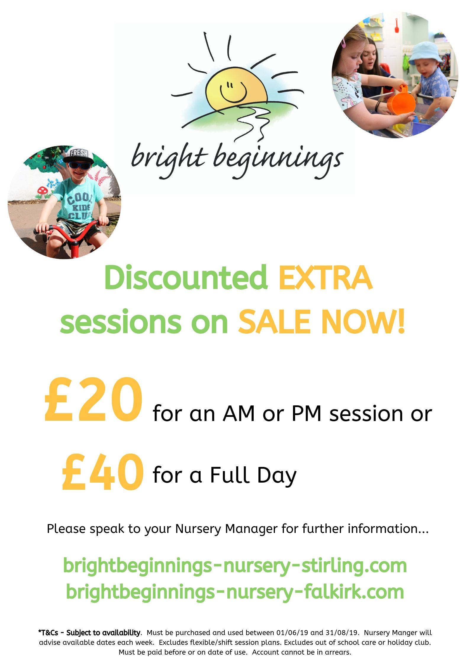 Discounted sessions Bright Beginnings nursery Falkirk